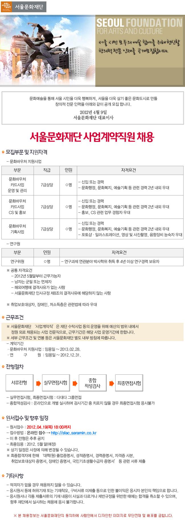 서울문화재단 2012년 제1차 직원 공개채용